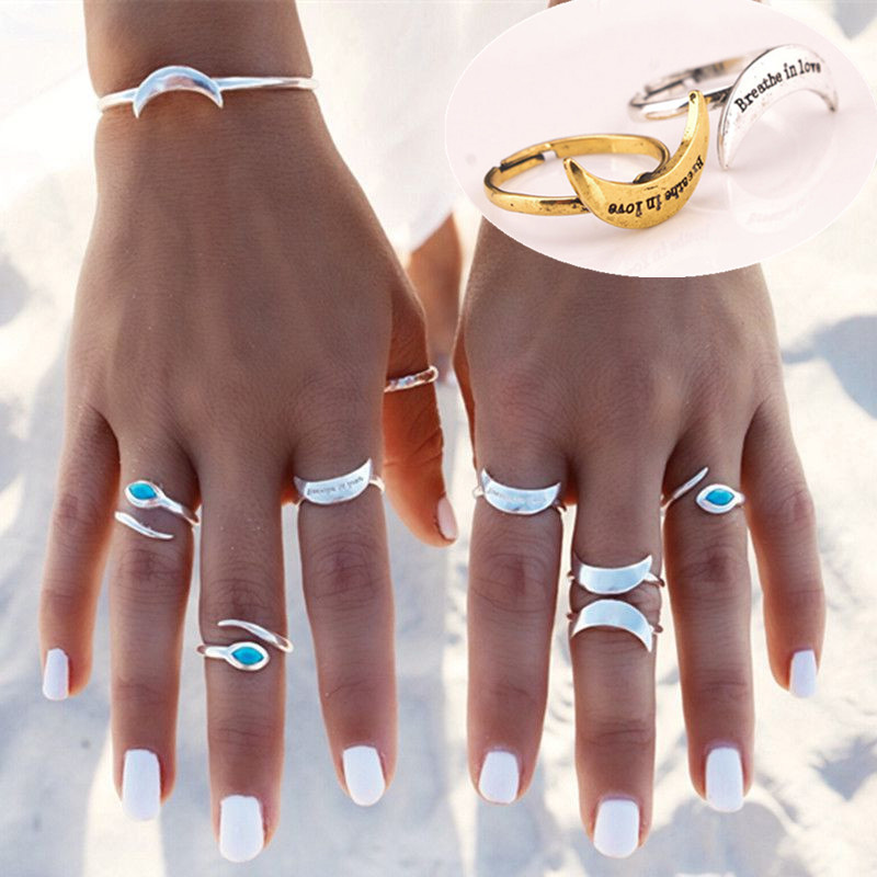 8Pcs Set Women Bohemian Vintage Carved Gold + Silver Plated Moon Open Cuff Bracelet Ring