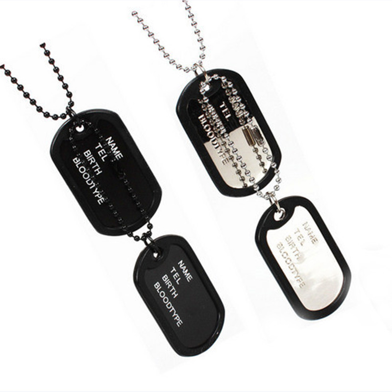 Men's Interesting Military Army Style 2 Dog Tags Chain Pendant Necklace