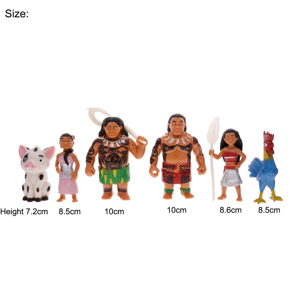 6PCS/Set Moana Maui Pig Heihei Chicken Mini Toys Action Figures Anime Dolls