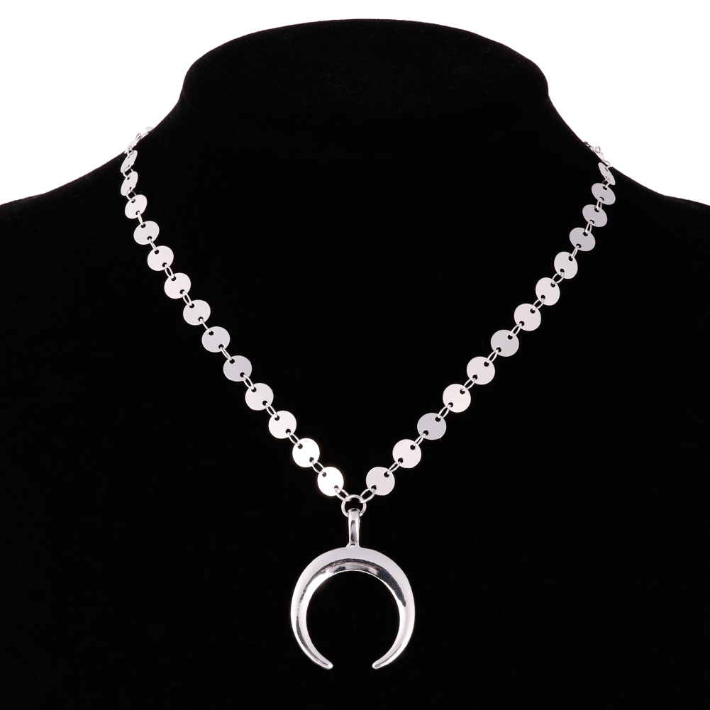 Sexy Sequins Moon Choker Collar Chain Necklace Women's Fashion Jewelry Gift