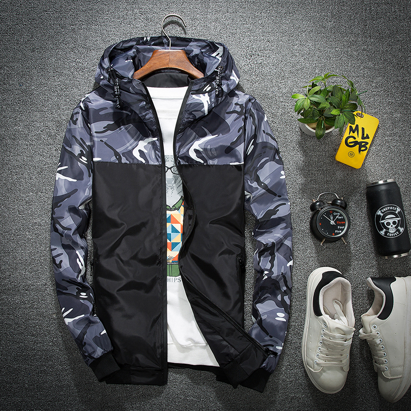 2018 Hot Spring Autumn Men's Camouflage Coat Mens Hoodies Casual Jacket Brand Clothing Mens Windbreaker Coats Male Outwear 5XL