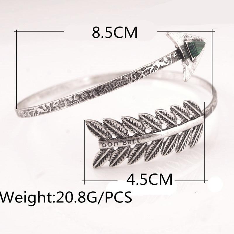 Women's Bohemian Open Bangle Ethnic Armlet Charming Gem Arrow Bracelet Arm Cuff