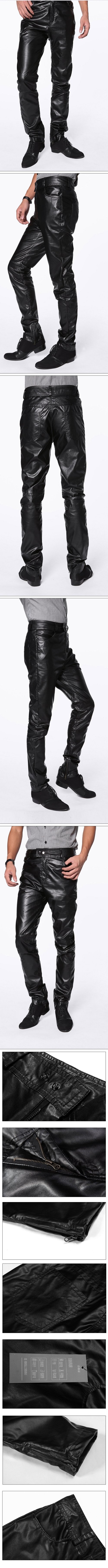 New Fashion Men Cool Faux Leather Slim Fit Trousers Pants Black M/L/XL/XXL SG1253