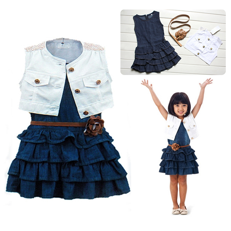 Cute Girl Kids Outfit Clothes Coat + Denim Dress 2 Pieces Set with Belt