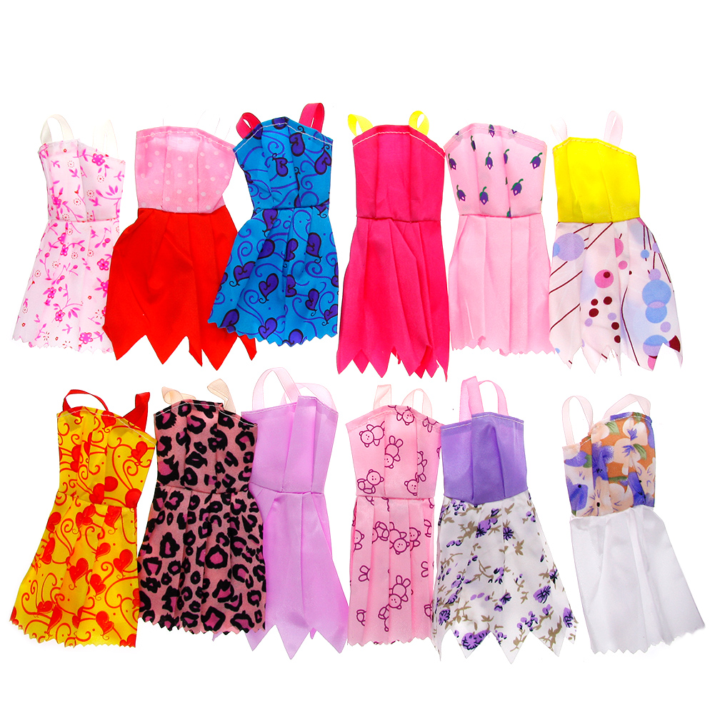 12pcs/set Mix Sorts Beautiful Handmade Party Dress Fashion Clothes For Barbie Doll Kids Toys Gift Play House Dressing