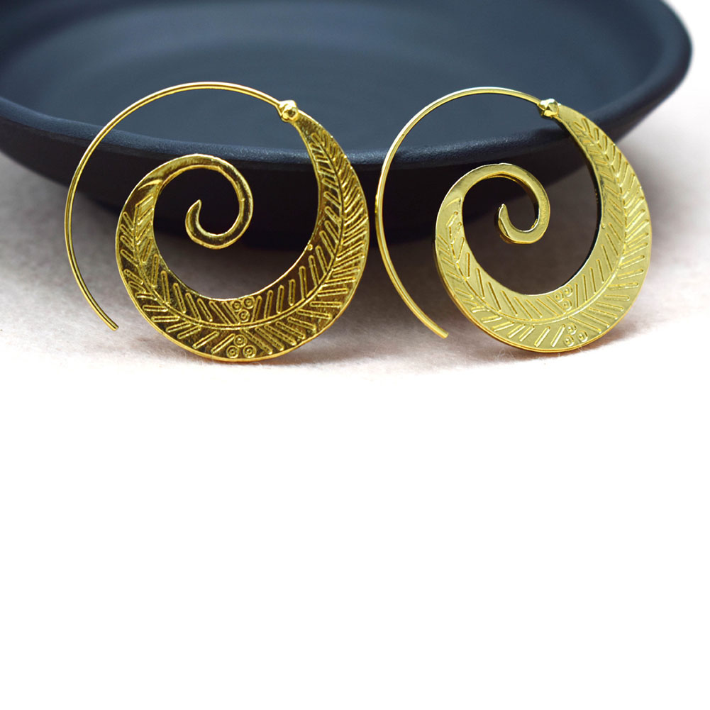 1 Pair Retro Vintage Boho Bohemian Round Spiral Circles Leaves Stud Earrings Women Ear Jewelry Gift Accessories
