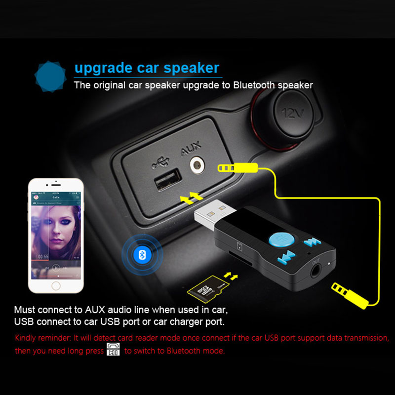 BC07 Vehicle Bluetooth Audio Receiver USB Transmitter with LED Indicator MP3 Decoding Handsfree Call