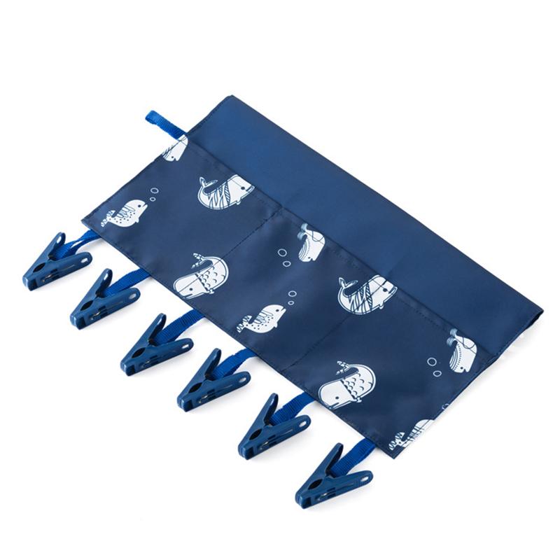 Bathroom Racks Cloth Hanger Clothespin Travel Portable Folding Cloth with 6 Clip