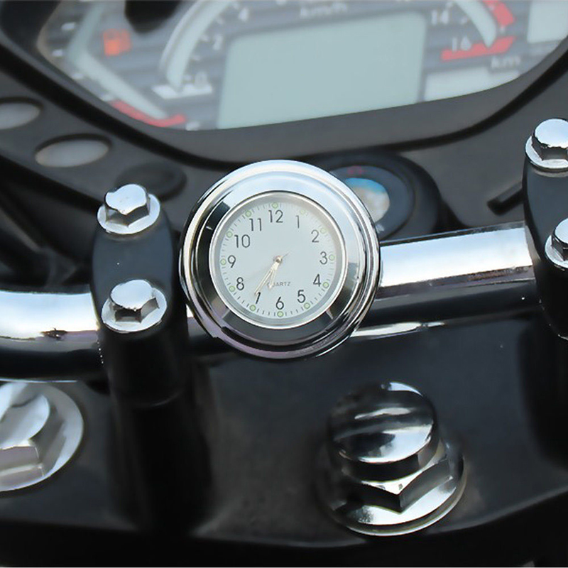 "7/8"" Motorcycle Handlebar Mount Clock Dial Watch and Temp Thermometer"