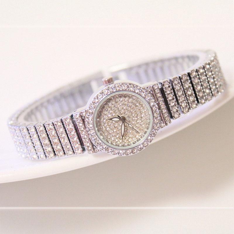Fashion Women Vintage Rhinestone Analog Quartz Stainless Steel Dial Bracelet Wrist Watch