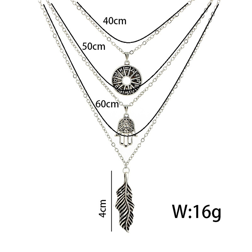 Women's Multi-layer Silver Plated Choker Leaves Hand Pendant Chain Necklace Charming Jewelry
