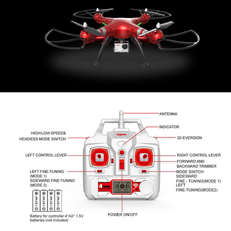 Syma X8HG 2.4G 4CH 6-Axis RC Quadcopter with Wifi FPV 8MP Camera
