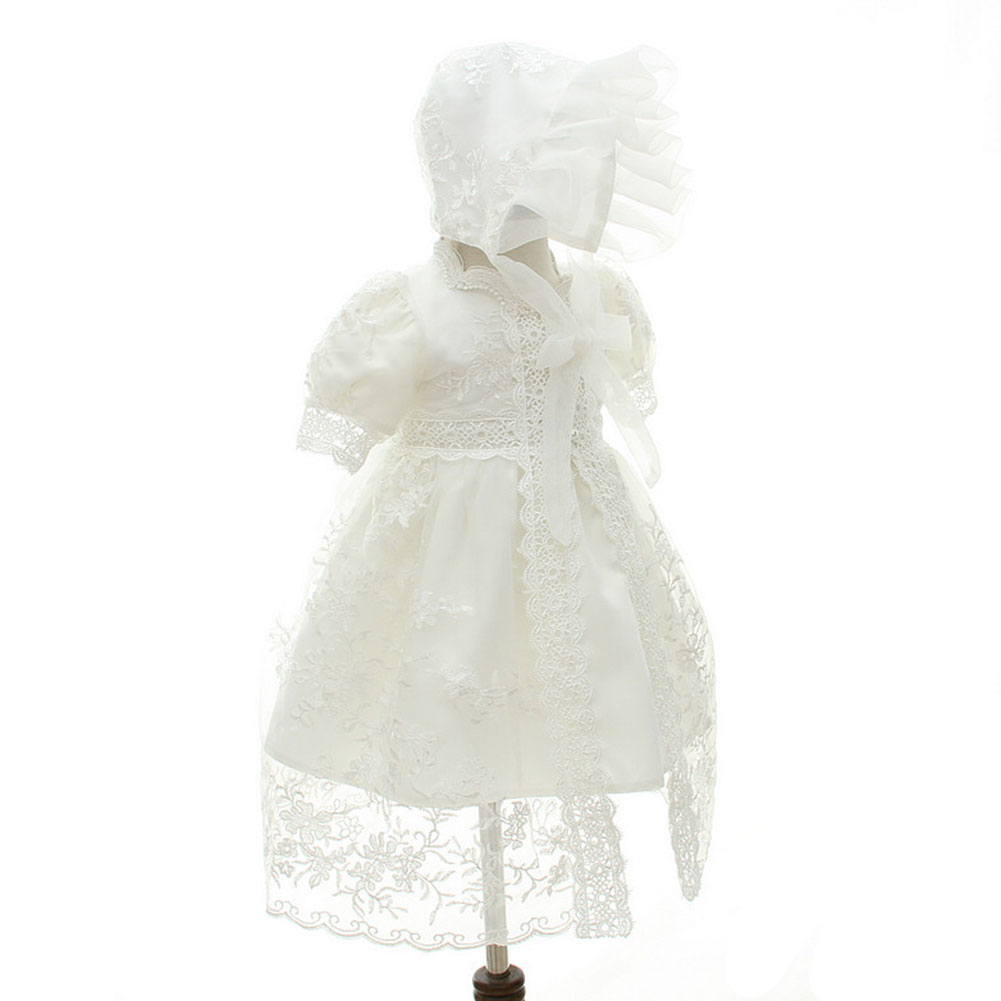 Fashion Baby Girl Solid White/ Ivoery Birthday Wedding Party Dress LaceTop 0-24 Months Clothing Set With Hat