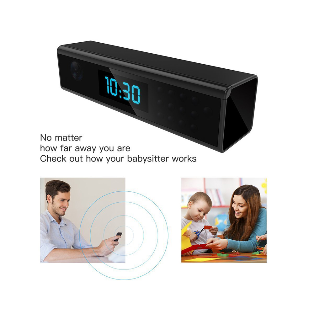 Wireless WIFI 1080P HD 168° Mini Hidden IP Camera Clock Nanny Video Recorder