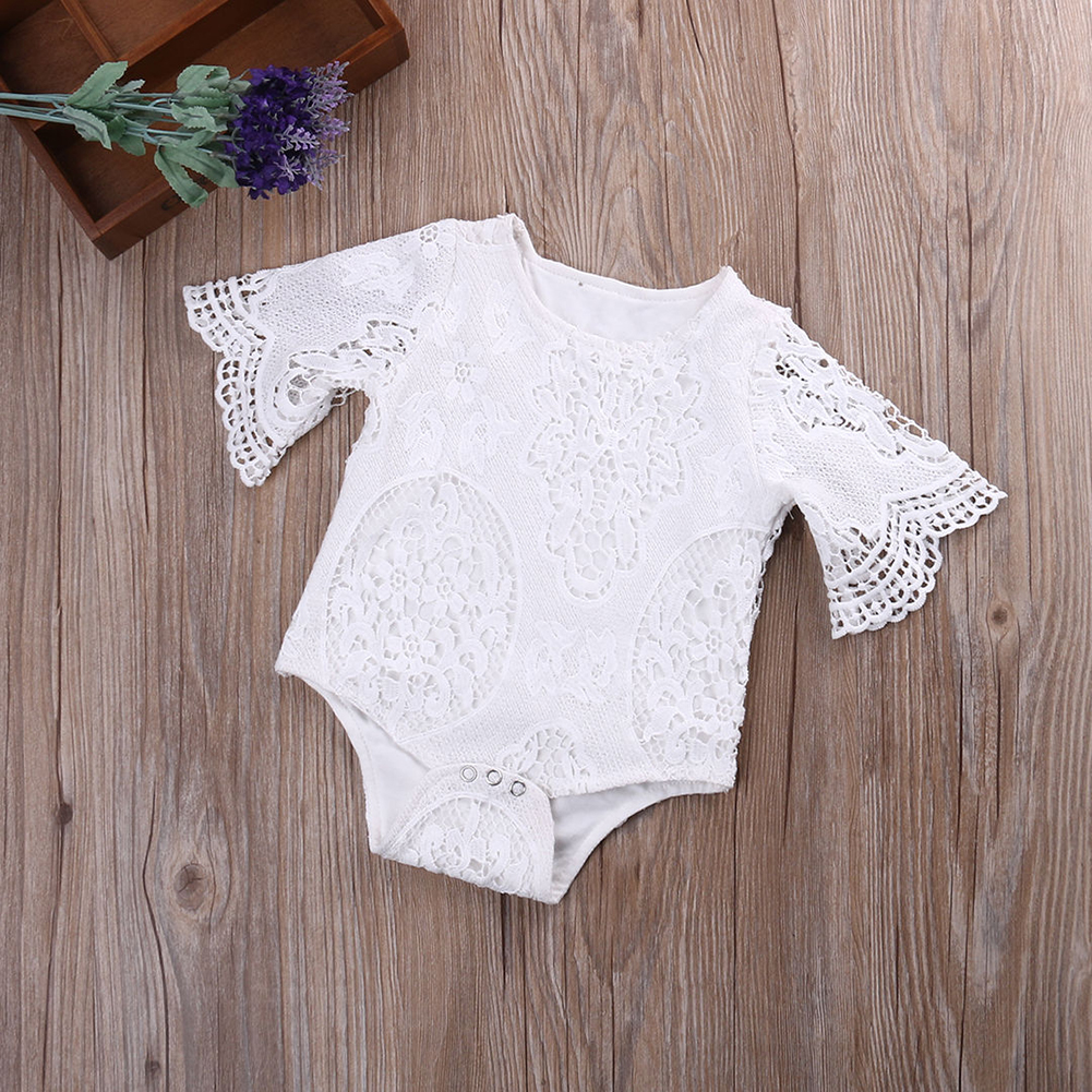 Newborn Baby Girls Lace Floral Romper Jumpsuit Bodysuit Outfits Sunsuit Clothes