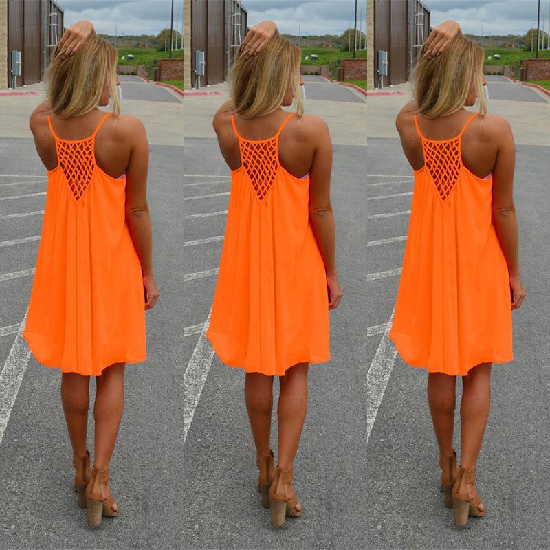 Sexy Women Hollow Casual Sleeveless Fluorescent Party Beach Dress Short Mini Dress