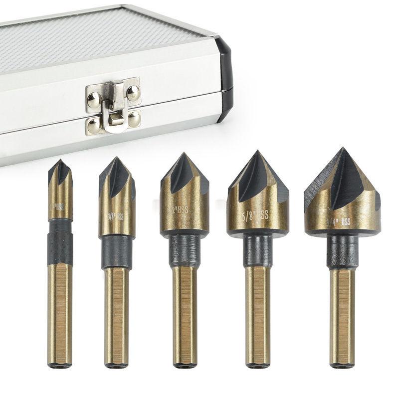 """5Pcs Industrial Countersink Drill Bit Set Tri-Flat Shank Quick Change 1/4""""-3/4"""" Kit Tool"""