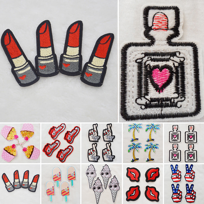Lip Ice-cream Cake Embroidery Iron On Patches Sewn Applique Embroidered DIY