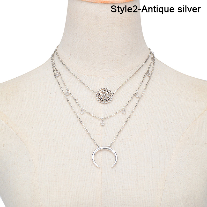 New Vintage Hollow Flower Multilayer Collar Choker Necklace Charm Moon Pendant Chain Women Jewelry