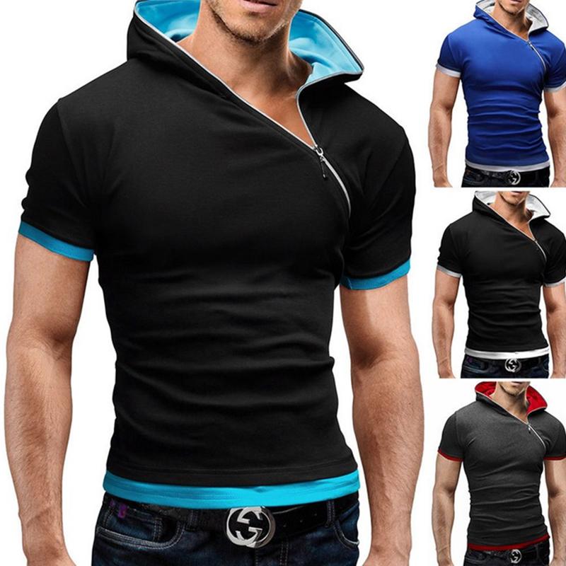 Chic Fashion Men Slim Zipper Hoodie Hooded Short Sleeve T-Shirts Tee Tops