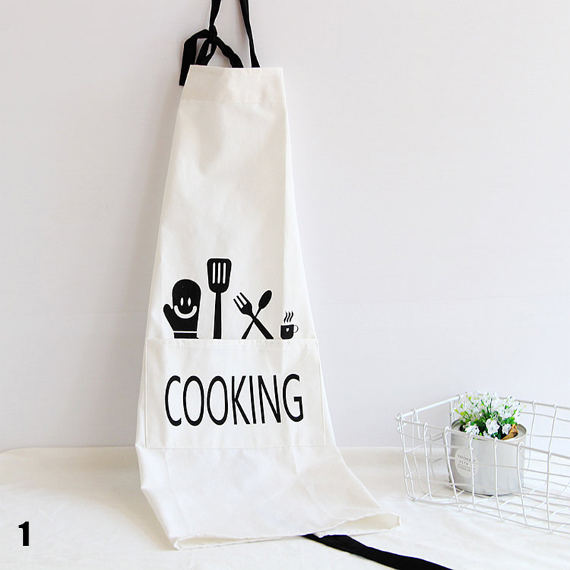 Kitchen Bib Apron Printed Unisex Cooking Aprons Dining Room Barbecue Restaurant Pocket