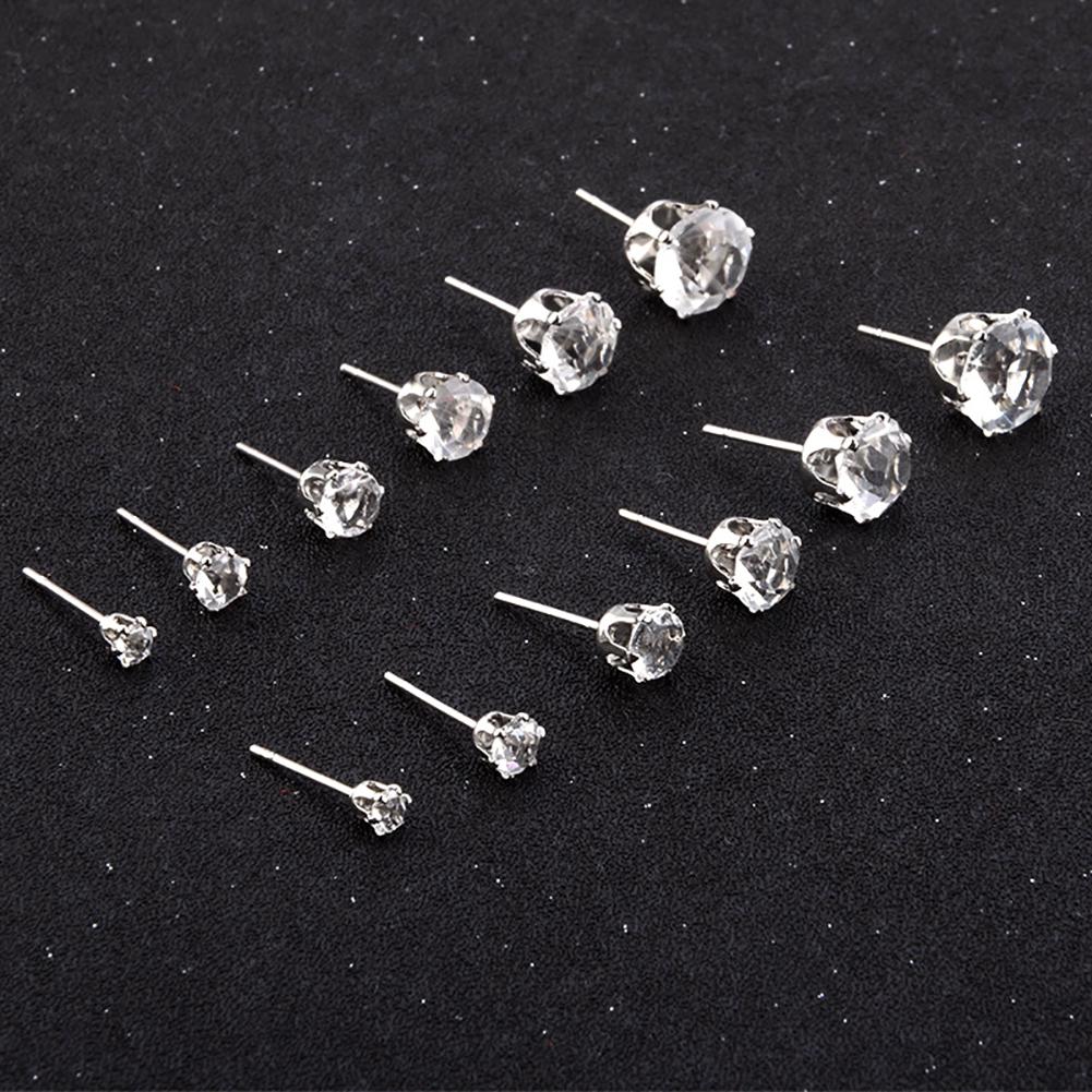 6 Pairs Fashion Women Jewelry Silver CZ Crystal Rhinestone Ear Stud Earrings 3mm-8mm