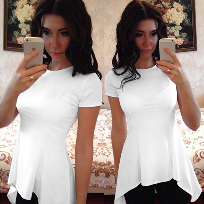 Summer Women Sexy Short Sleeve Crewneck T-shirt Casual Loose Tops Hem Dress