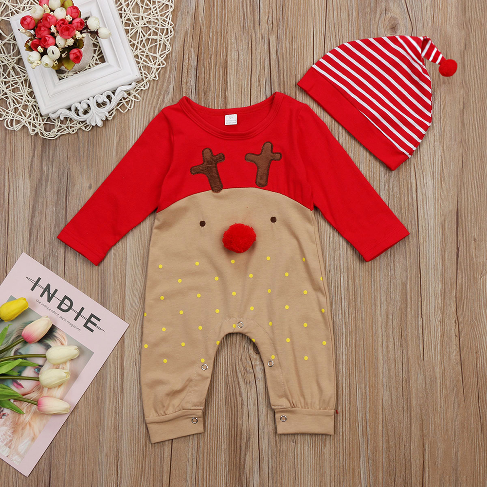 Newborn Baby Girl Boy Dot playsuit bodysuit romper with hat Children clothes
