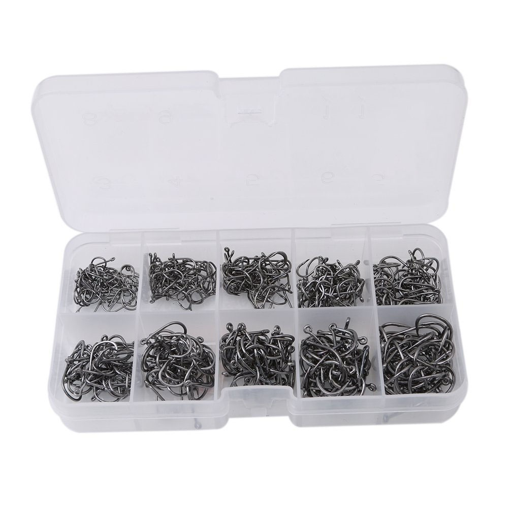 500pcs Boxed Fishing Hooks Barbed Luya Fishing Hook Sets 10 Sizes Assorted Fishing Accessories Black Perforated Hook