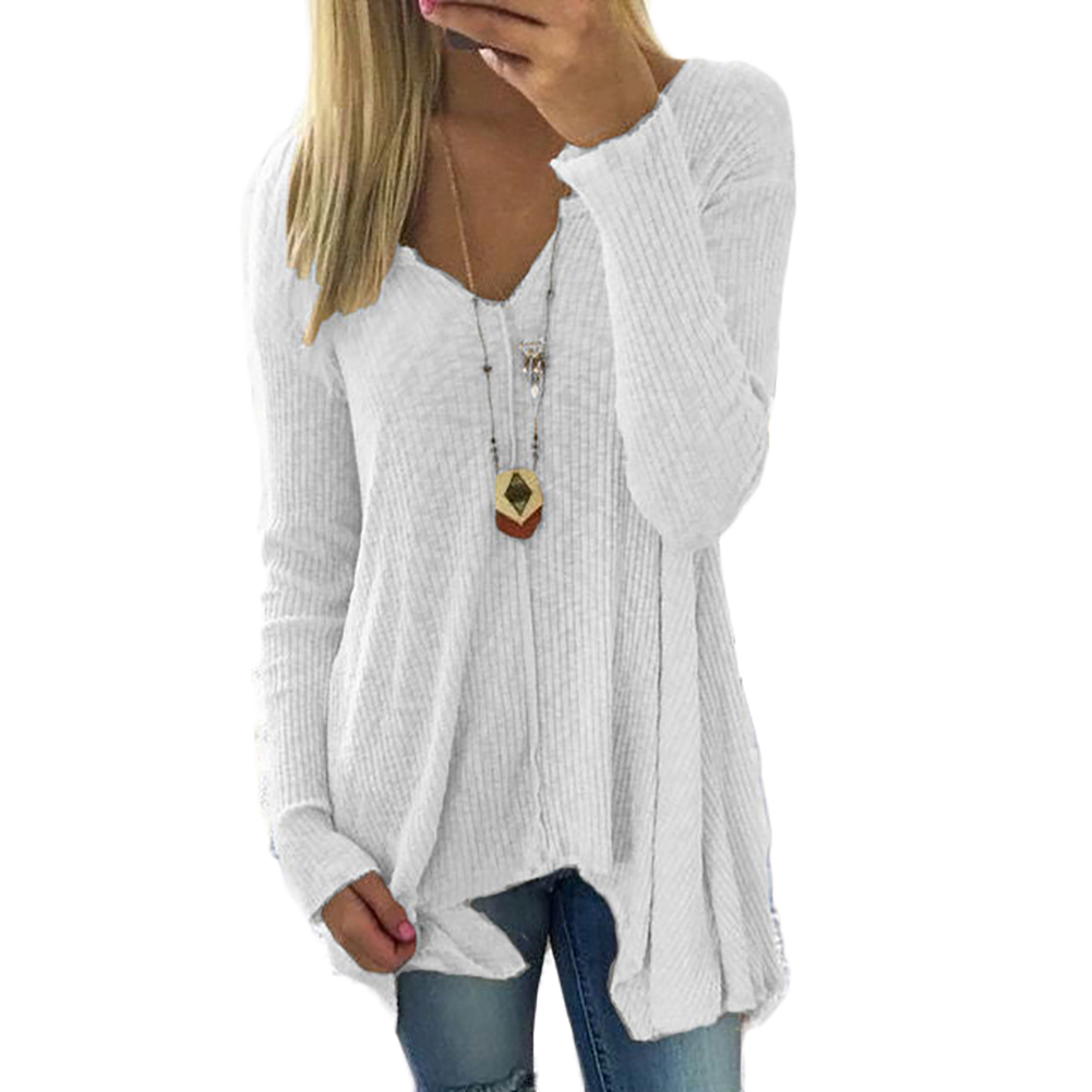 Fashion Women V-Neck Long Sleeve Loose Tops T-shirt Sweater Big Size S-5XL
