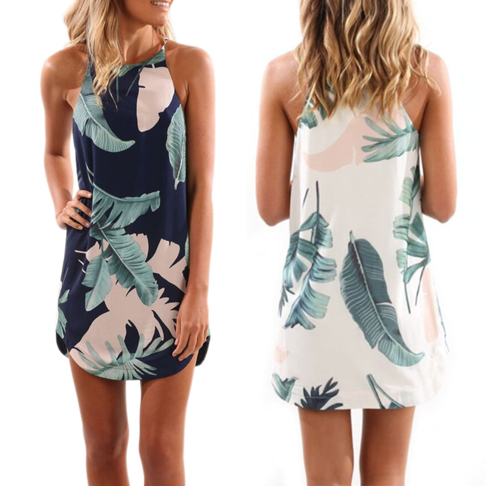 2017 Women Ladies Summer Dress Sleeveless Casual Sexy Floral Print Beach Dress Fashion Spaghetti Strap Mini Short Dress