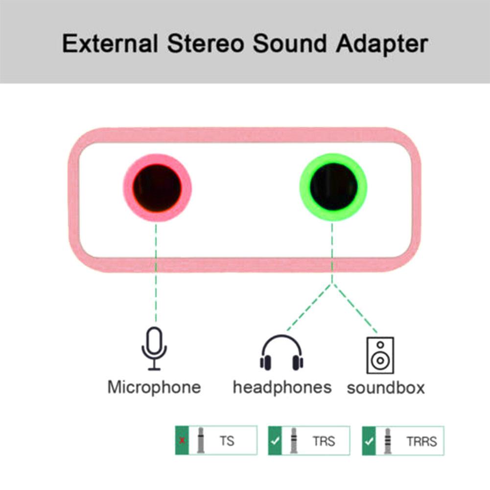 USB2.0 External Sound Card 3D Stereo 7.1 Mic Audio Adapter 3.5mm Jack Sound Card