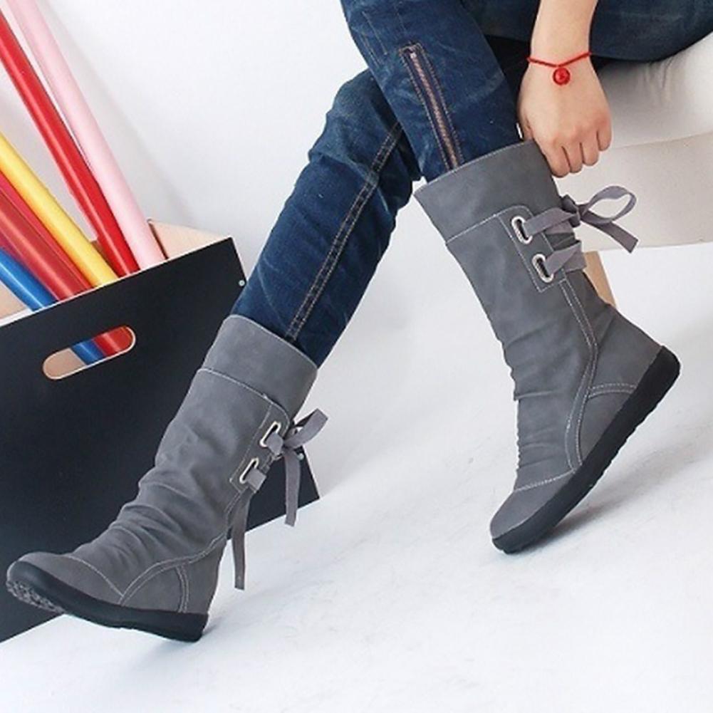 Fashion PU Boots Women Autumn Winter Boots Mid-Calf Solid Elegant Flat Heels