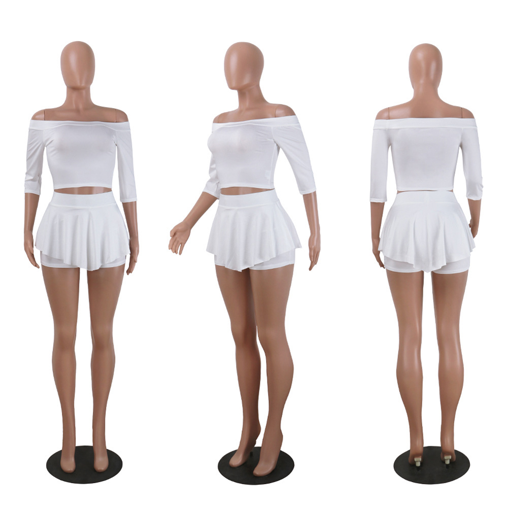 Women's Off-Shoulder Casual Half Sleeve White Tops+Shorts 2pcs
