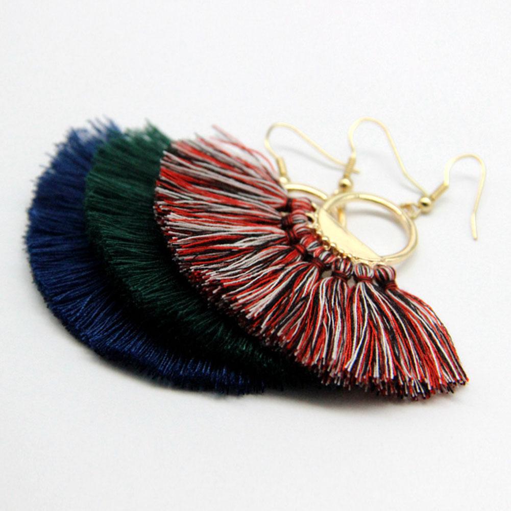 Trendy Bohemia Ethnic Tassels Dangle Earrings Cotton Handmade Ear Stud Jewelry Accessories