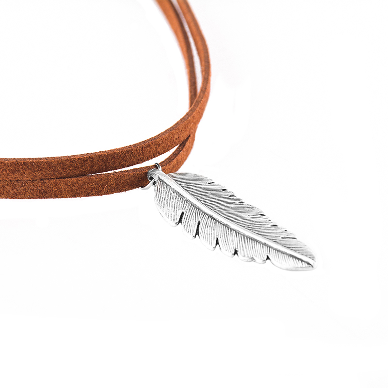 Charm Velvet Choker Silver Leaf Feather Pendant Necklace Chain Gothic Jewelry