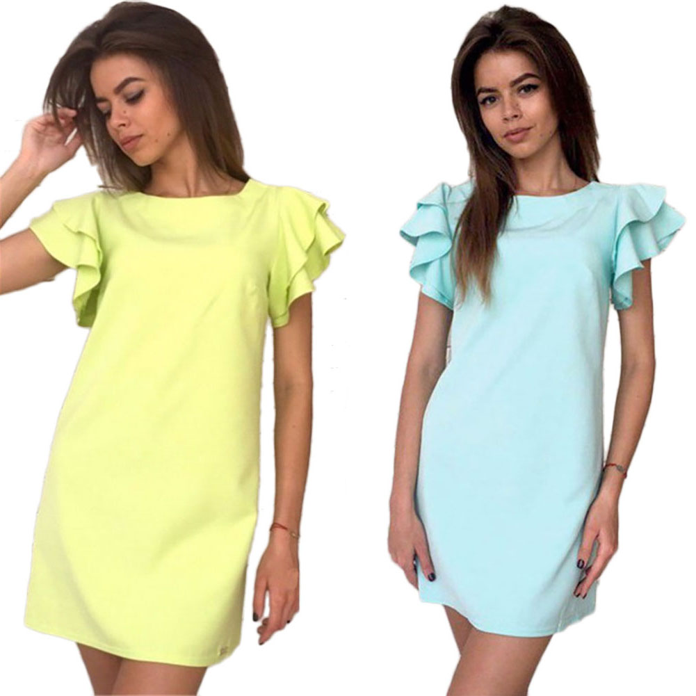 Butterfly Sleeves Dress For Women Simple Straight Dress Sexy Party Club Backless Mini Dresses Plus Size