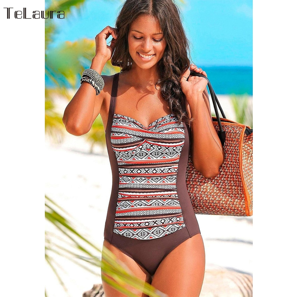 2018 One Piece Swimsuit Women Plus Size Swimwear Female Solid Bathing Suit Vintage Monokini Bodysuit Beach Wear Retro Swimwear