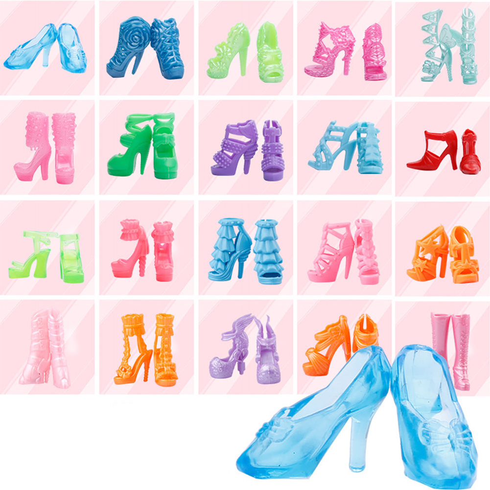 10 Pairs Different High Heel Shoes Boots 10 pcs Fashion Party Daily Wear Dress Clothes For Barbie Doll