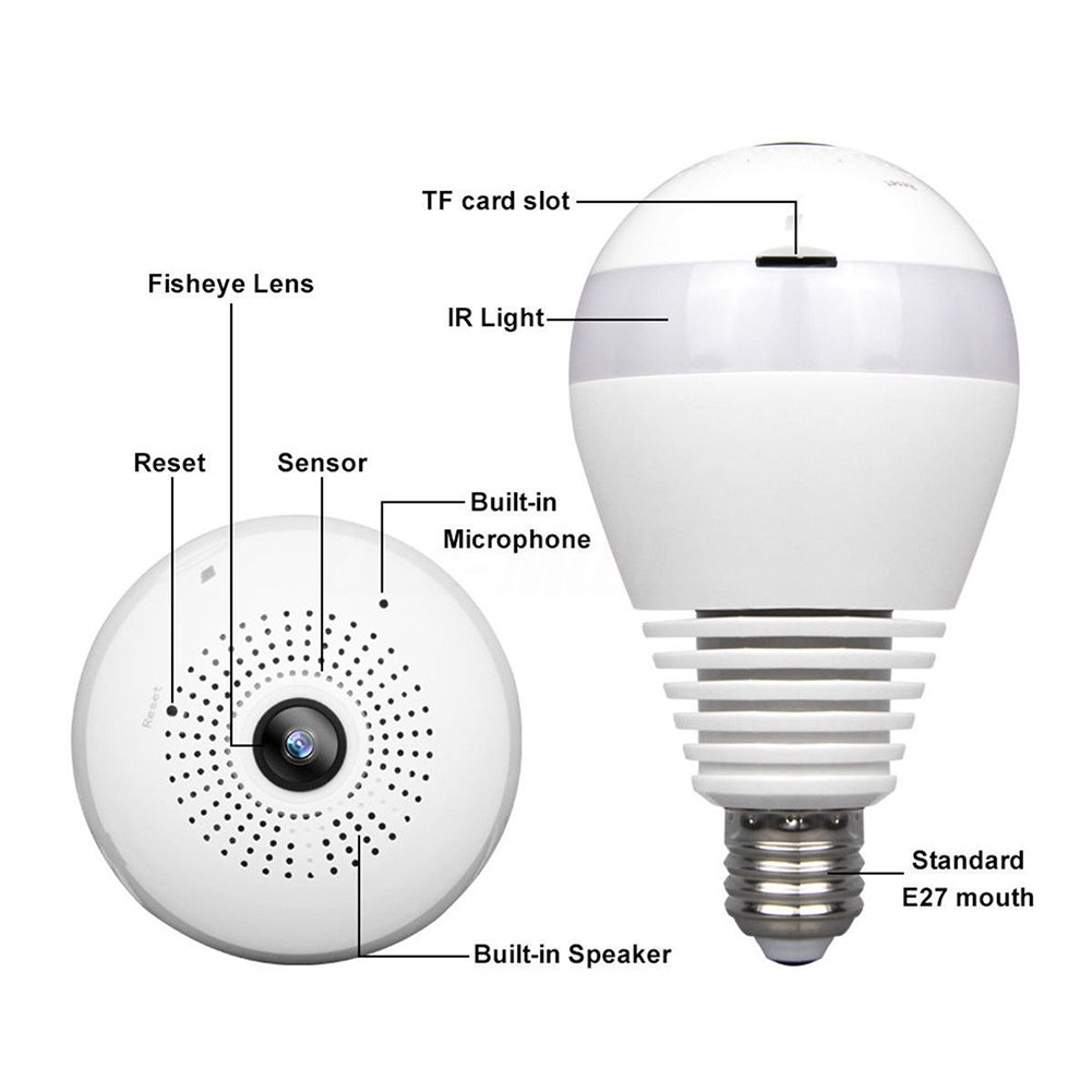 360°Panoramic 1080P Hidden IR Camera Light Bulb Wifi FishEye CCTV Security Home Safty