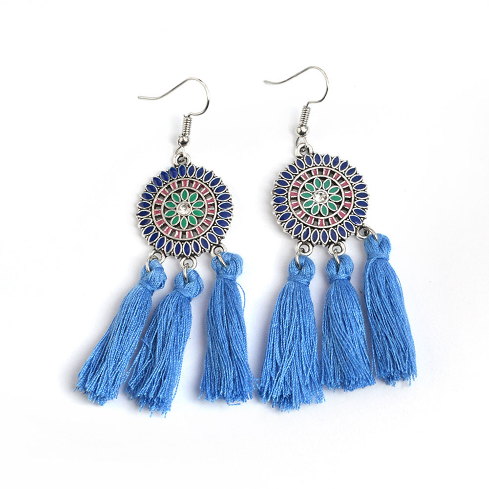 1 Pair Bohemian Retro Colorful Sunflower Hollow Coins Tassel Dangle Earrings Women Ear Stud Jewelry