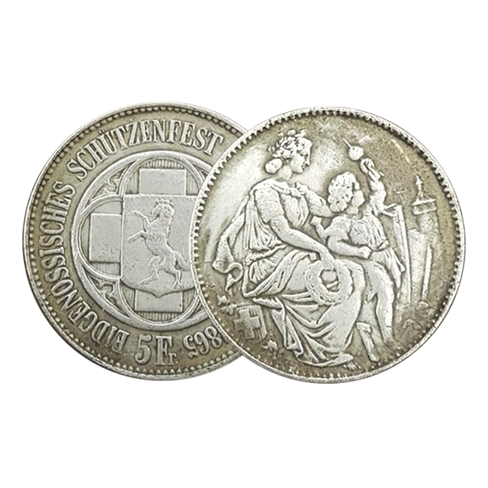 1pcs 38MM 1865 Swiss Confederation Collection Silver Coin Antique New Gift