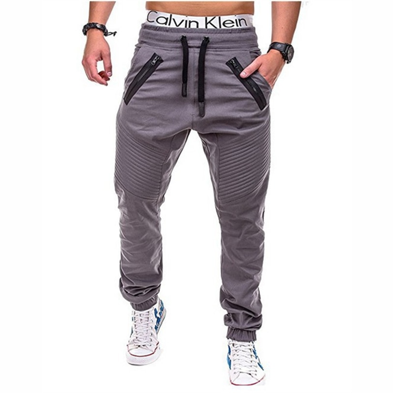 Men casual pants fashion fitness Pants Breathable Large Size Multi Pocket Elastic waistline Hip-hop retro feet  Long Trouser