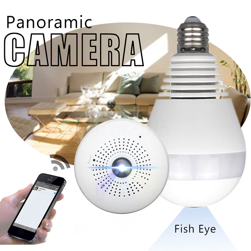 360° Panoramic HD 1080P Wireless Fisheye Security Hidden Camera LED Light Bulb Home Security