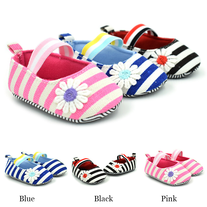 Striped Daisy Patten Baby Shoes Girls Boys Canvas Shoes Soft Casual Baby Shoes