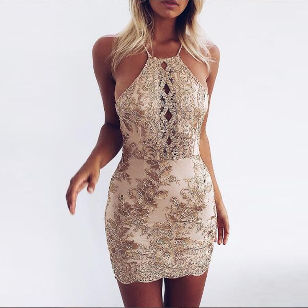 Febelle Women Summer Halter Off Shoulder Dress Hollow Out Party Lace Dresses Beach Dress
