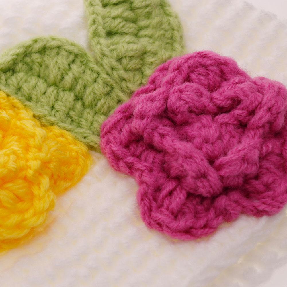 Baby Girl Fashion Flower Knitted Hat Newborn White Cap Accessories