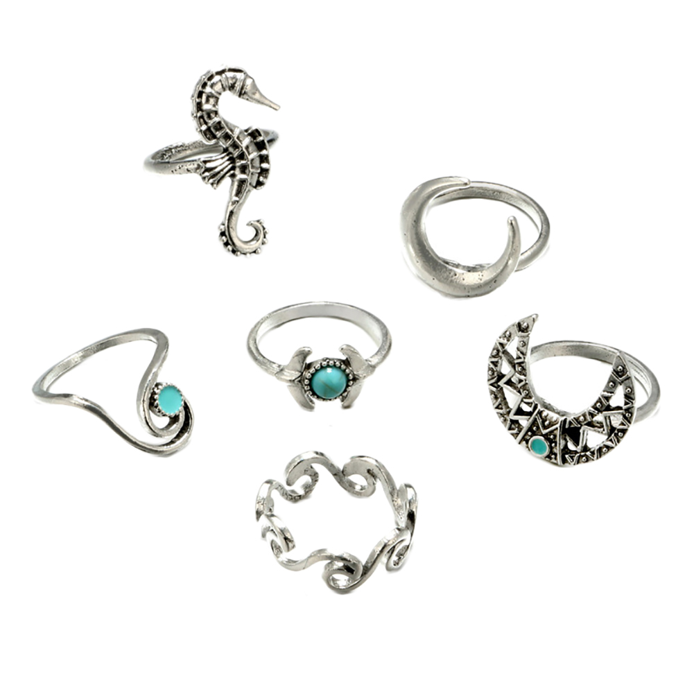 6 Pcs/Set Women Bohemian Hippocampi Geometric Moon Turquoise Spray Hollow Carved Joint Knuckle Rings