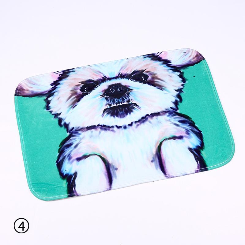 Cute Animal Painting Dog Print Carpets Anti-slip Floor Mat Outdoor Rug Front Door Mat