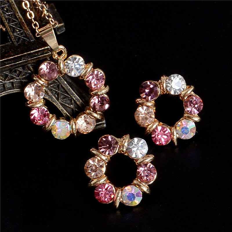Womens Circle Color Crystal Necklace Earring Set Rhinestone Wedding Bridal Gold Plated Jewelry